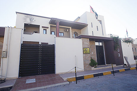 A view of the United Arab Emirates embassy after it was attacked in the Libyan capital of Tripoli