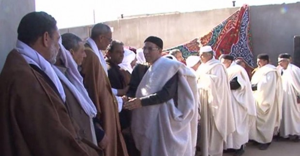 Delegation of Werfalla tribe during its visit to the city of Sebha, Libya