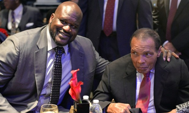 Muhammad Ali poses with Shaquille O'Neal at a function in Louisville in October. Photograph: Timothy D. Easley/AP