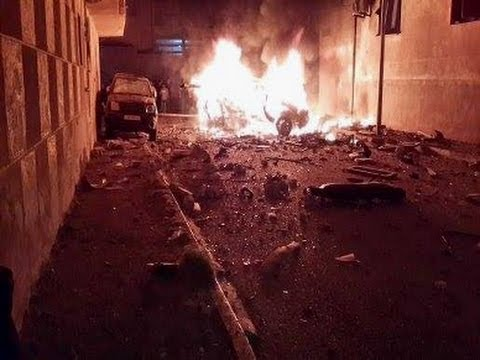 photo for the Circulated photo for the explosion outside the Municipal Guard building in Dernah
