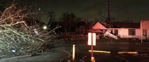 A photo from the Birmingham Fire and Rescue Service Department posted on December 25, 2015, showing damage that occurred in Birmingham, Alabama following a storm.