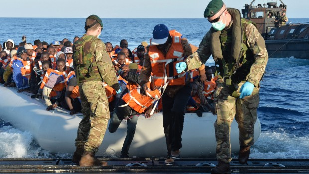 British Ministry of Defence (MOD) on 13 May 2015 of Royal Marines conducted a rescue of several hundred migrants who were observed travelling in the Mediterranean.