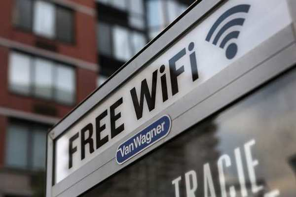 NEW YORK, NY - A free Wi-Fi hotspot beams broadband internet.