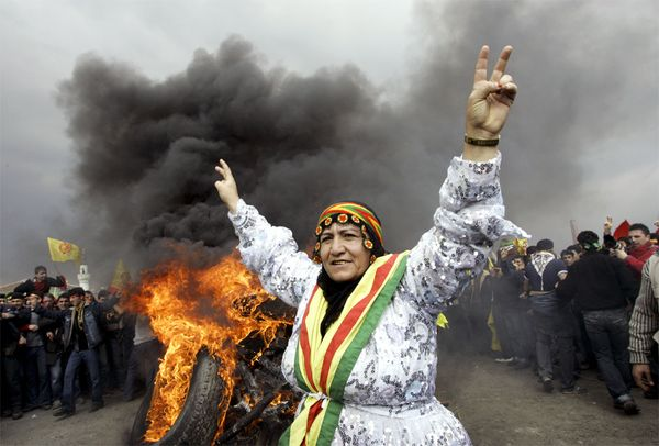 Kurdish woman during pro-kurd demonstration in Ankara, Turkey.