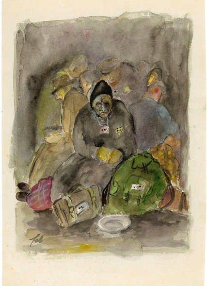 """Felix Bloch's """"Arrival of a Transport, Theresienstadt Ghetto,"""" 1942-1944, watercolor and India ink on paper. Credit Collection of the Yad Vashem Art Museum, Jerusalem. Gift of the Prague Committee for Documentation, courtesy of Alisa Shek, Caesarea, Israel."""