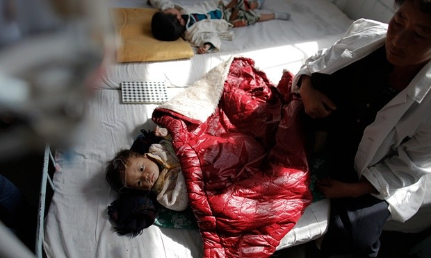 North Korean children suffering from malnutrition rest in a hospital in Haeju in October 2011. More recent photography is difficult to obtain from the hermit state. Photograph: Damir Sagolj/Reuters
