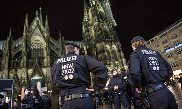 Police presence has been beefed up at Cologne cathedral and central station after the New Year's Eve assaults on women. Photograph: Maja Hitij/EPA