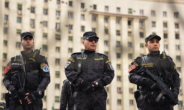 Special forces police stand guard on Tahrir Square, Cairo, on 25 January 2016, as Egypt marks the fifth anniversary of the uprising that toppled Hosni Mubarak in 2011. Photograph: Mohamed El-Shahed/AFP/Getty Images