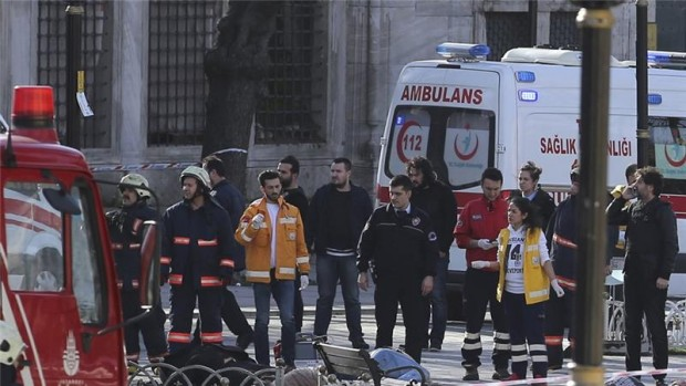 Ambulances rushed to the site in Sultanahmet square, close to the Blue Mosque and Hagia Sophia [Reuters]