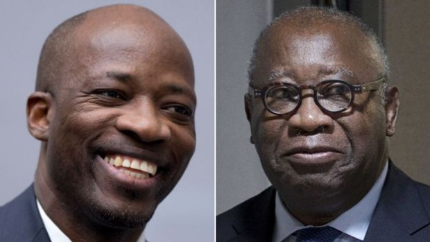 Former militia leader Charles Ble Goude (L) is being tried alongside Mr Gbagbo on the same charges