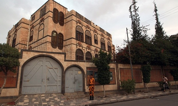A Yemeni soldier stands guard in front of the Iranian embassy in Sana'a in July. Iran has accused Saudi warplanes of attacking the Iranian embassy. Photograph: Mohammed Huwais/AFP