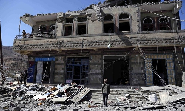 A house destroyed by a Saudi-led coalition airstrike last week on the Yemeni capital, Sana'a. Photograph: Chen Lin/Xinhua Press/Corbis