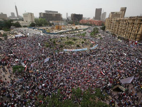 Demonstrators gather in Tahrir Square on May 27, 2011 in Cairo during The Arab Spring