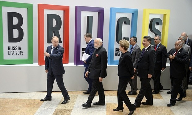 Russia's Vladimir Putin (L), India's Narendra Modi (3rd L), Brazil's Dilma Rousseff (4th L), China's Xi Jinping (4th R) and South Africa's Jacob Zuma (R). Photograph: Alexander Nemenov/AFP/Getty Images
