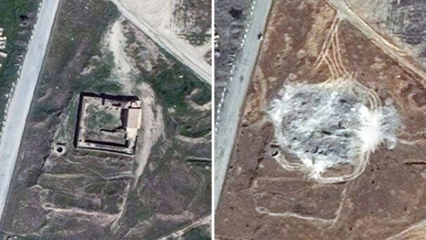 Satellite images showing the site of St Elijah's Monastery in March 2011 and September 2014