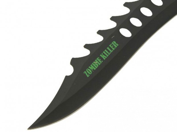 The 'Fiendish Zombie Killer Bowie Knife' is one of the many Zombie Killer branded knives currently available on the internet from UK retailers
