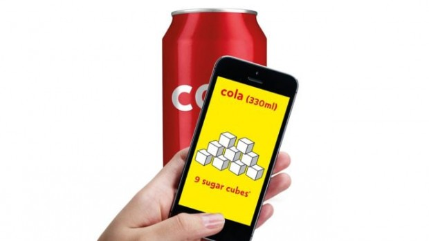 The app scans barcodes of thousands of food and drink products to reveal total sugar content