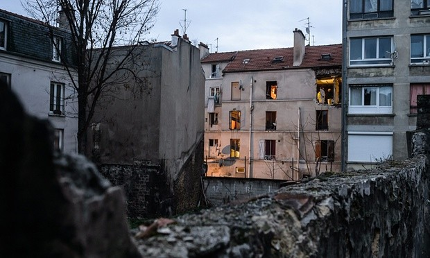 A rear view of the badly damaged apartment at 8 rue du Corbillon, Saint-Denis, where Abdelhamid Abaaoud was killed by police five days after the Paris terror attacks. Photograph: Christophe Petit Tesson/EPA