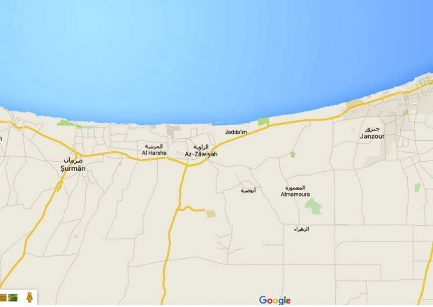 Map showing the coastal road western Tripoli.