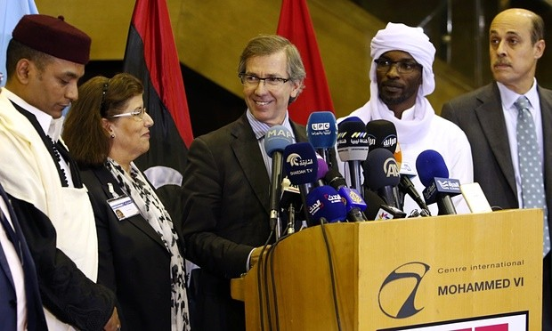 Bernardino Léon, the then UN peace envoy, announcing the formation of a national government for Libya at a press conference in Morocco last year. Photograph: Abdeljalil Bounhar/AP