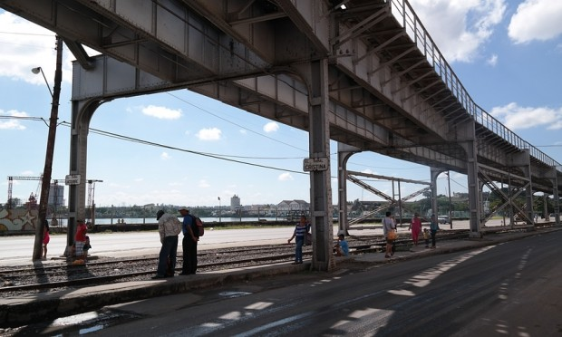 This elevated railway line could become Havana's High Line. Photograph: Oliver Wainwright
