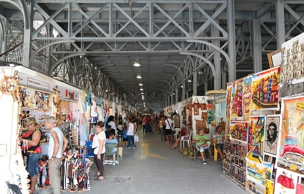 A shipping warehouse turned into an art and souvenir market. Photograph: Oliver Wainwright