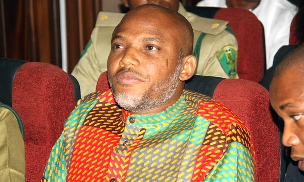 Nnamdi Kanu, director of the banned Radio Biafra, was detained by secret police on 17 October and accused of terrorism. Photograph: AP Photo/AP