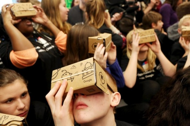 """Students used Google Cardboard virtual reality viewers to """"tour"""" Canada's Parliament during an event last month."""
