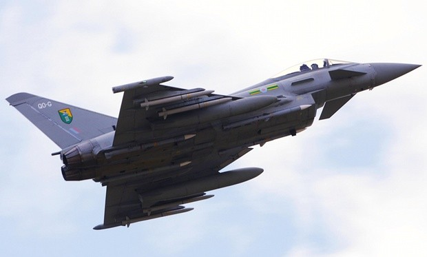 An RAF Typhoon jet takes off to patrol the no-fly zone over Libya in 2011. Missions are taking place in preparation for assisting a new government of national unity. Photograph: Chris Ison/PA