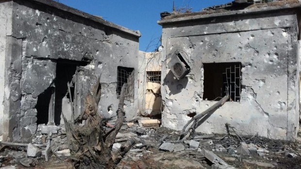 Damage to staff residences at Al-Wahda Hospital in Derna, Libya due to air strikes on February 7, 2016, according to a witness. ©2016 Al-Wahda Hospital administration