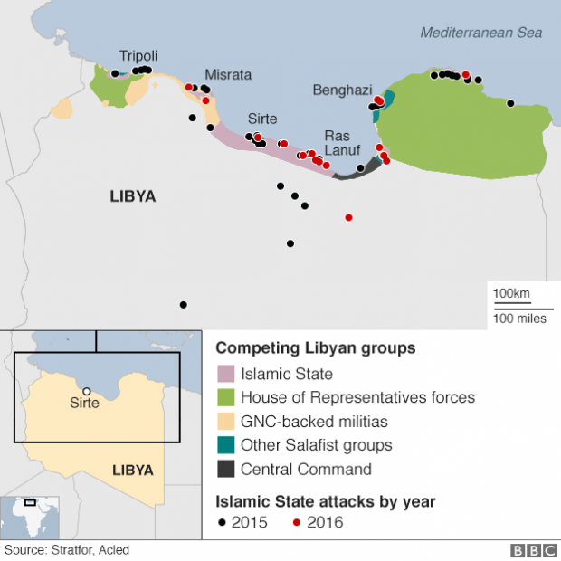 Islamic State is one a number of groups fighting for control of different parts of Libya