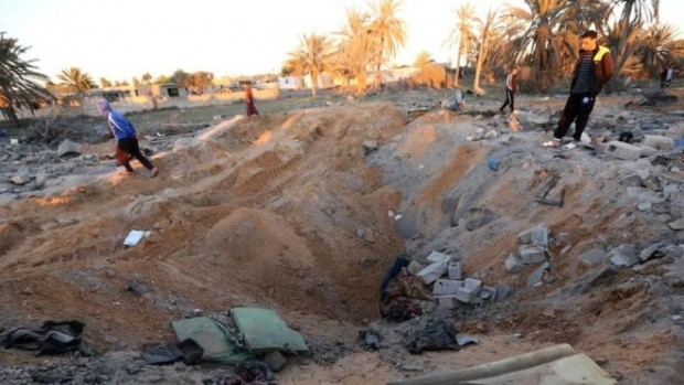 Images have emerged of the aftermath of the air strike - AFP
