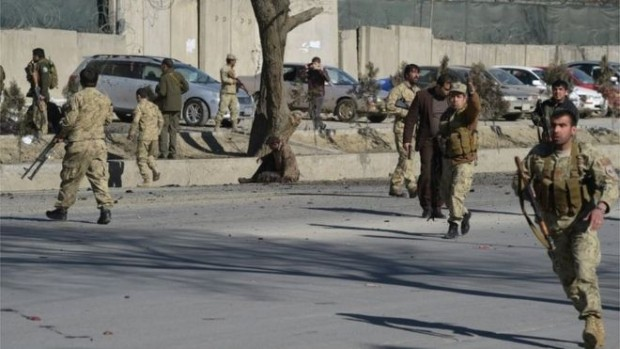 Afghan security forces rushed to the scene of the blast