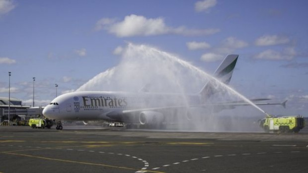 First flight of the route was made by an A380 plane