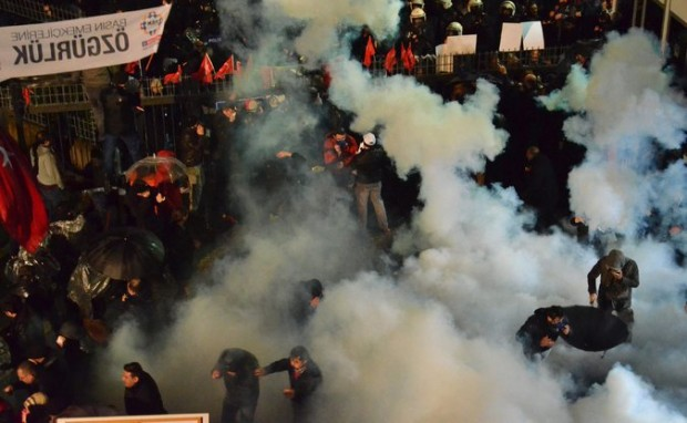 The police dispersed opponents of President Recep Tayyip Erdogan on Friday during a raid on the Zaman newspaper in Istanbul. Credit Selman Gunes / Zaman Daily News / Handout/European Pressphoto Agency
