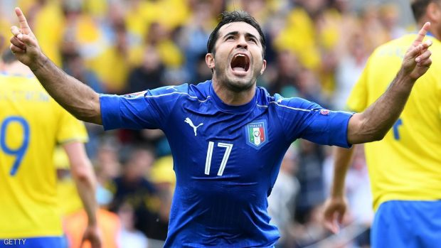 Italy's forward Citadin Martins Eder celebrates after scoring during the Euro 2016 group E football match between Italy and Sweden at the Stadium Municipal in Toulouse on June 17, 2016.  / AFP / VINCENZO PINTO        (Photo credit should read VINCENZO PINTO/AFP/Getty Images)
