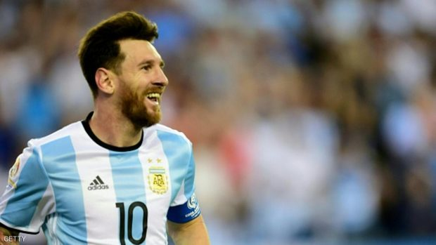 Argentina's Lionel Messi celebrates after scoring against Venezuela during the Copa America Centenario football quarterfinal match in Foxborough, Massachusetts, United States, on June 18, 2016.  / AFP / ALFREDO ESTRELLA        (Photo credit should read ALFREDO ESTRELLA/AFP/Getty Images)