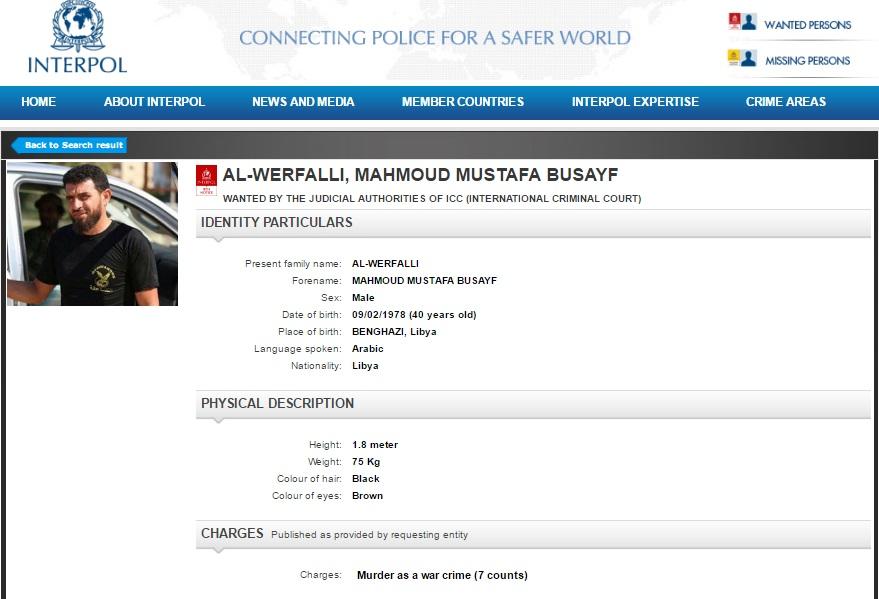 Interpol issues Red Notice for Libya eastern killer Mahmoud Al-Werfalli -  Libyan Express - Libya News, Opinion, Analysis and Latest Updates from Libya
