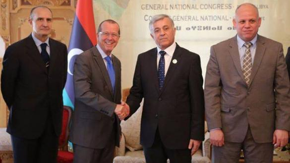 A joint meeting in Tripoli between the Special Representative of the United Nations Secretary General, Martin Kobler, and senior delegation led by the Chairman of the General National Congress. (22/11/2015)