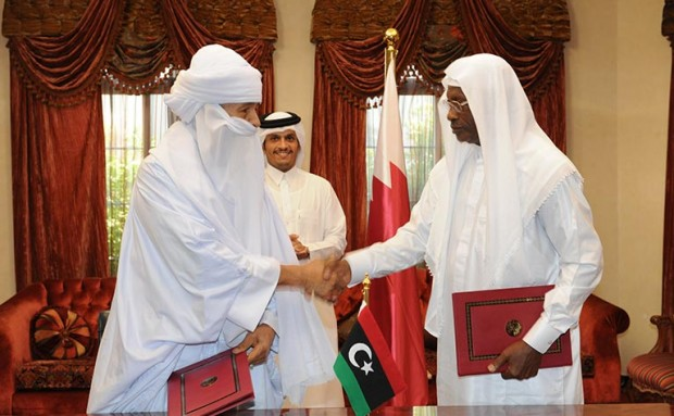 Tuareg and Tebu representatives during the signing of ceasefire agreement, brokered by Qatar.