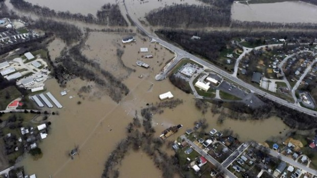 Buildings and roads in Union, Missouri, have been hit by flooding from the Bourbeuse River