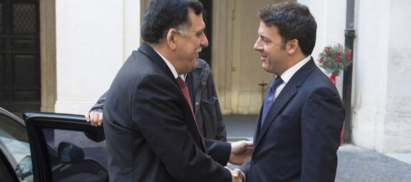 The proposed prime minister, Faez el-Serraj, during his visit to Italy this week.