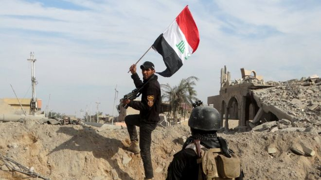 The Iraqi flag was raised in parts of Ramadi as security forces entered