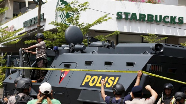 "A police armoured personnel carrier is seen parked near the scene of an attack in central Jakarta January 14, 2016. Militants launched a gun and bomb assault in the center of the Indonesian capital on Thursday, killing at least six people, in an attack that followed a threat by Islamic State fighters to put the country in their ""spotlight,"" police said.   REUTERS/Darren Whiteside"