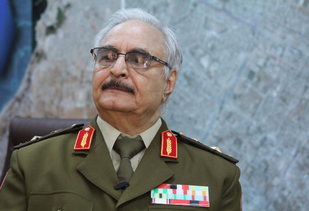 Gen. Khalifa Hifter in Libya in March 2015. His Libyan National Army is one of several armed factions vying for power. Credit Mohammed El-Sheikhy/Associated Press