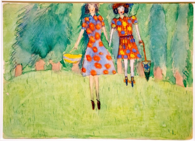 """Girls in the Field"" from 1943, by Nelly Toll, part of the exhibition ""Art From the Holocaust"" opening Jan. 25 at the German Historical Museum in Berlin. Credit Collection of the Yad Vashem Art Museum, Jerusalem, Gift of Nelly Toll"