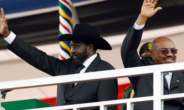 South Sudan's president, Salva Kiir, and Sudan's president, Omar Hassan al-Bashir during the Independence Day ceremony in Juba in 2011. Photograph: Goran Tomasevic/Reuters