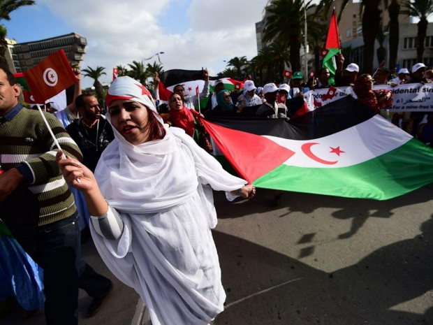 Activists for the independence of the Western Sahara wave flags and banners during a protest AFP/Getty