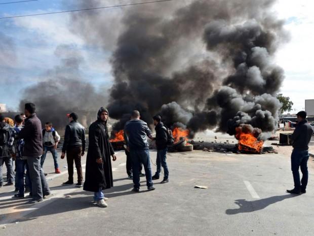 Burning tyres in Ben Guerdane last week AFP