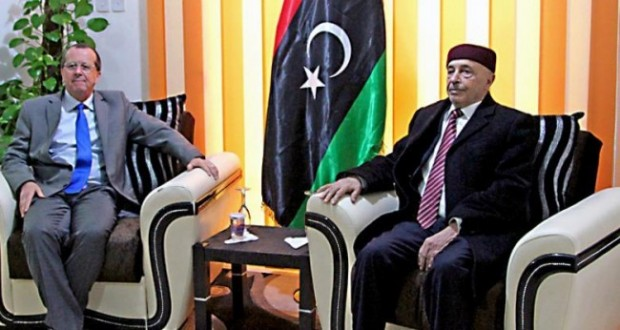 The speaker of the House of Representatives, Aguila Saleh during his meeting the Special Representative of the United Nations Secretary General